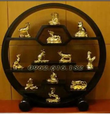 12 con giáp đồng vàng và đồng mạ vàng 24k
